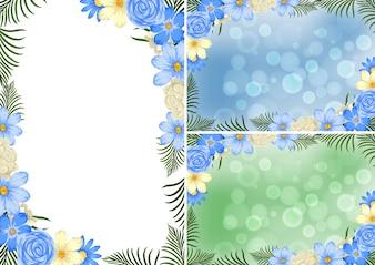 青と白の花の背景テンプレート