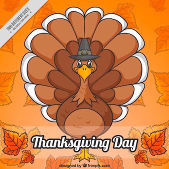 Background thanksgiving hand drawn turkey