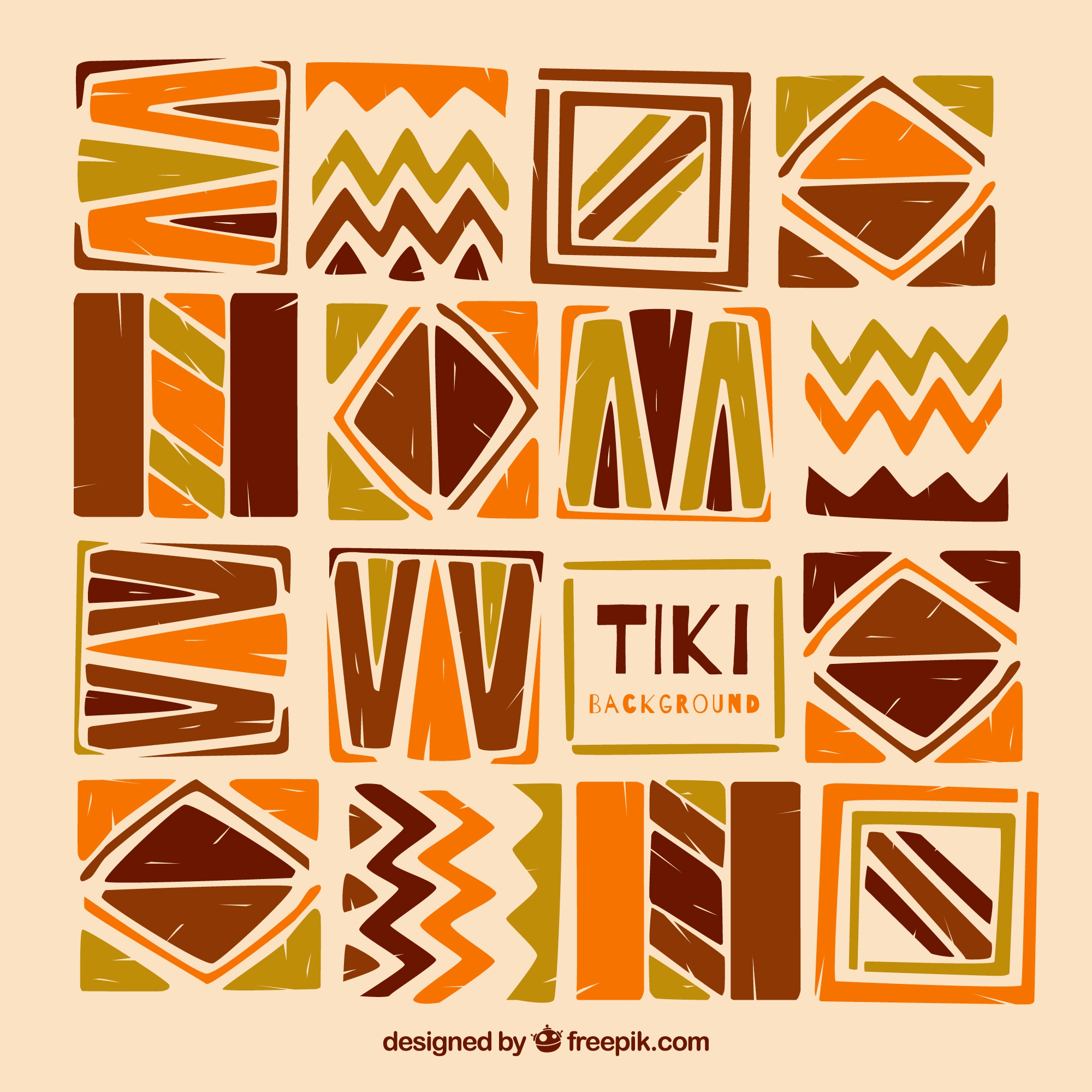 Background tiki of hand painted abstract shapes