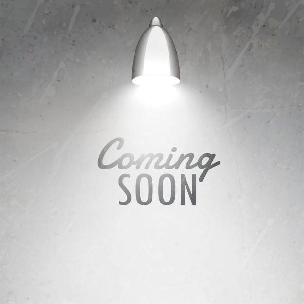 Background wall and lamp with text  coming soon