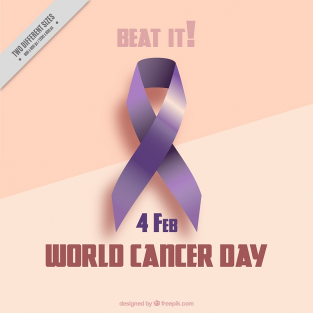 Background wiith a world cancer day ribbon