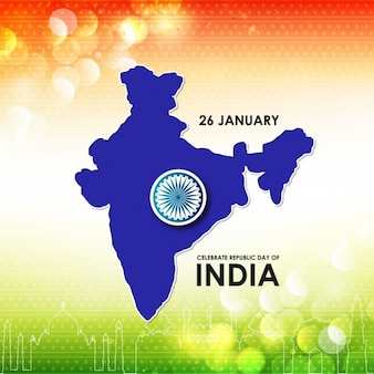 Background with a blue map, republic day of india