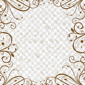 Background with a brown floral frame