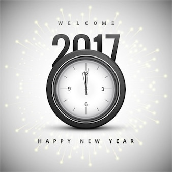 Background with a clock for new year