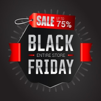 Background with a label and a red ribbon for black friday