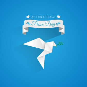 Background with a origami peace dove and ribbon