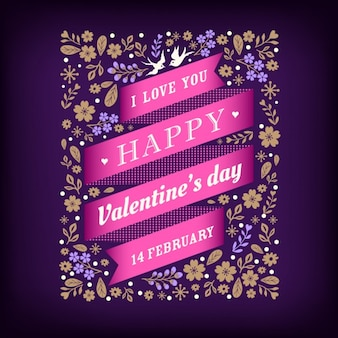 Background with a pink ribbon for valentine