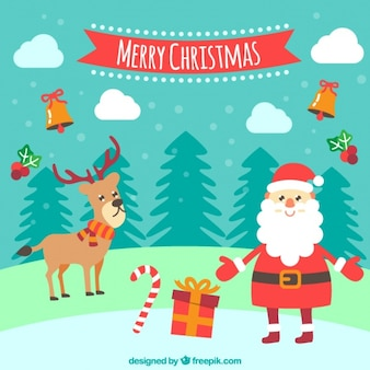 Background with a smiling santa claus and a reindeer