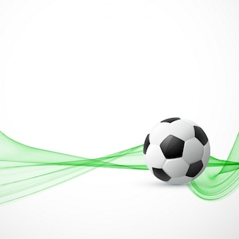 Background with a soccer ball and abstract green shapes