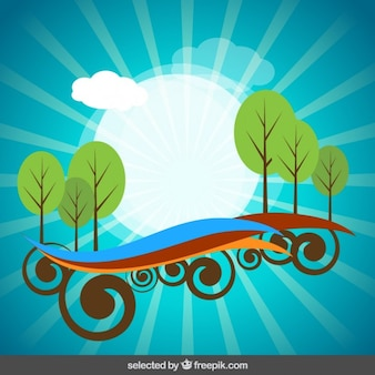 Background with abstract landscape
