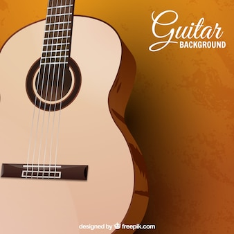 Background with acoustic guitar in realistic design