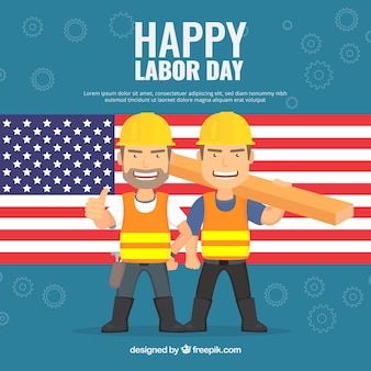 Background with american flag and workers