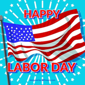 Background with american flag of happy labor day