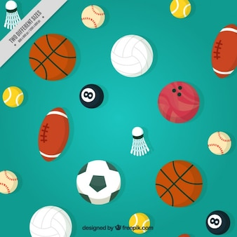 Background with balls of different sports