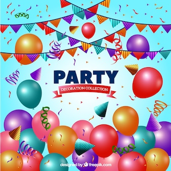 Background with birthday party elements