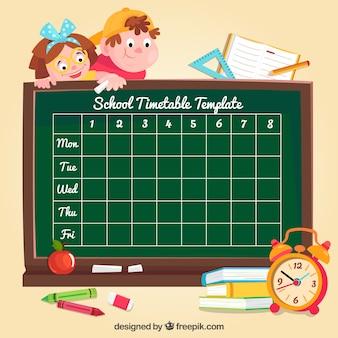 黒板の学校のスケジュールの背景