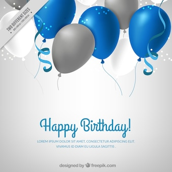 Background with blue and silver balloons
