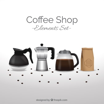 Background with cafe accessories