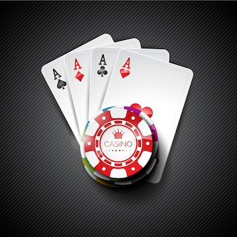 Background with cards and chips