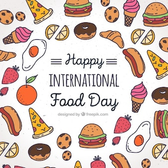Background with colorful drawings for world food day