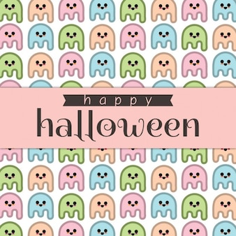 Background with cute ghosts for halloween