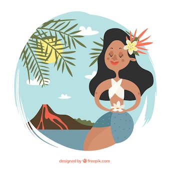 Background with cute hawaiian in a landscape with volcano