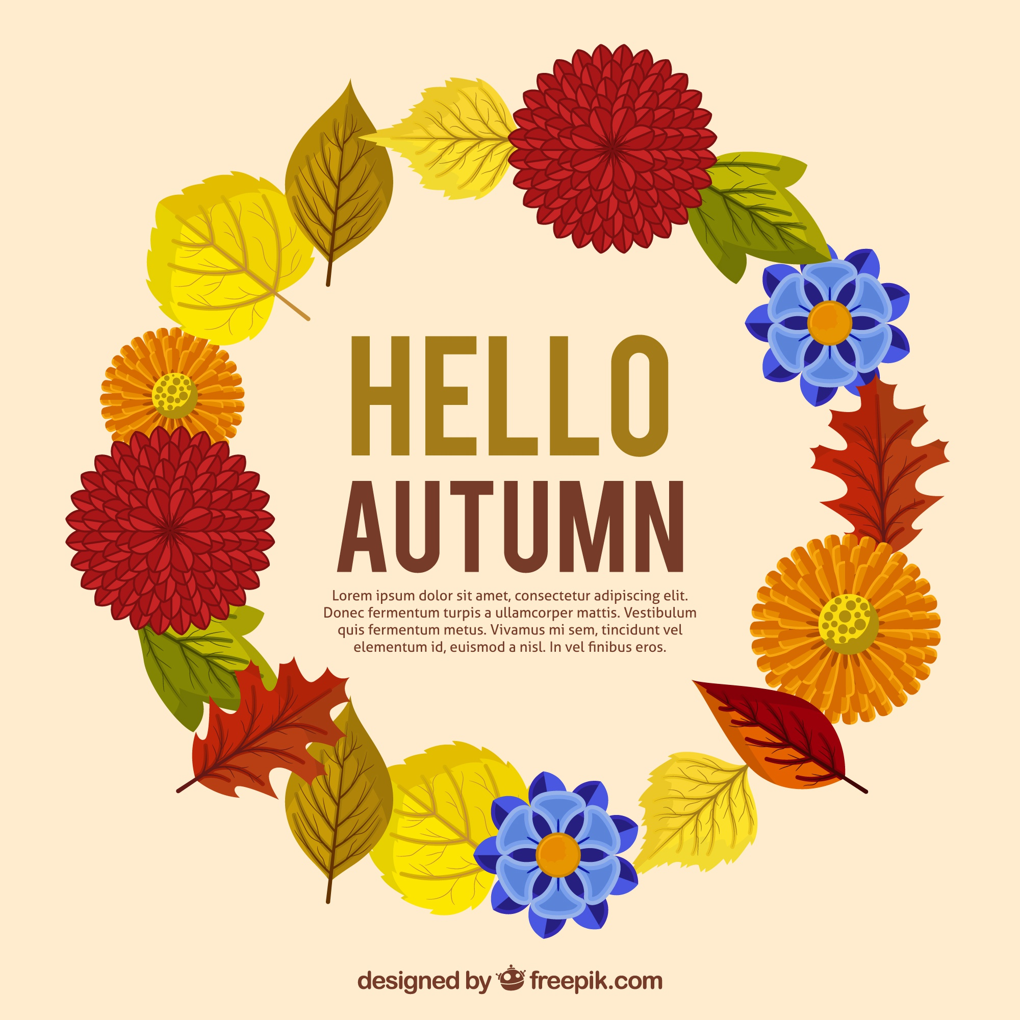 Background with decorative autumnal wreath in flat design
