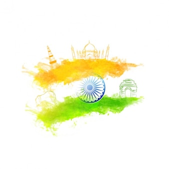Background with decorative elements and watercolor flag for indian republic day