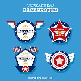 Background with different badges for veterans day