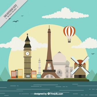 Background with different international monuments in flat style