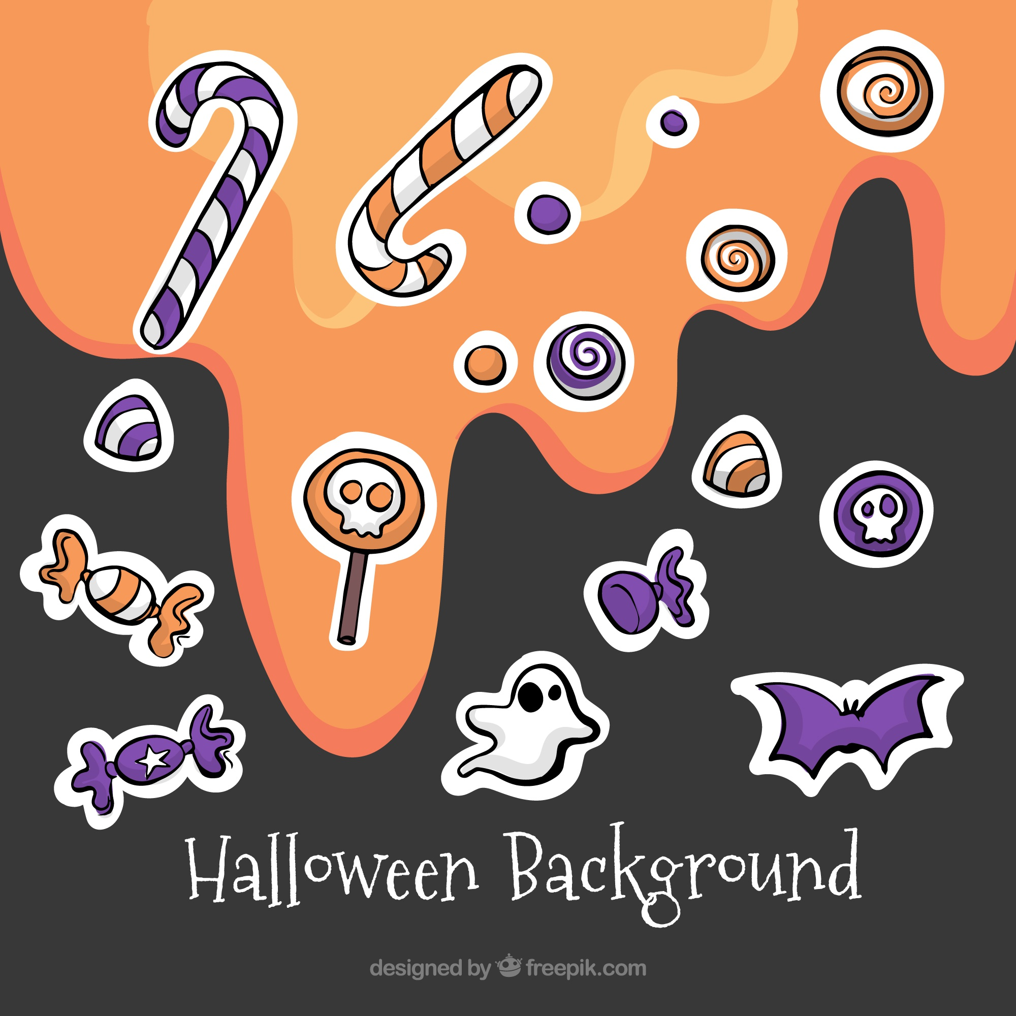 Background with different sweets for halloween