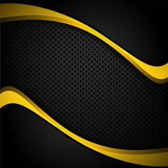 Background with dots and yellow wavy shapes