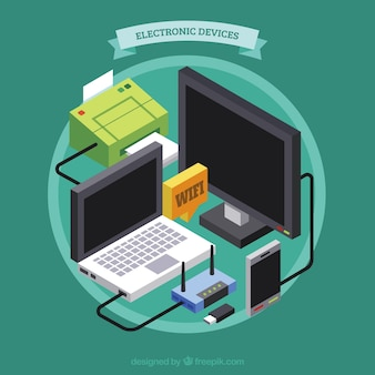 Background with electronic devices in isometric style