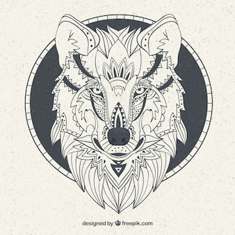 Background with ethnic hand drawn wolf face