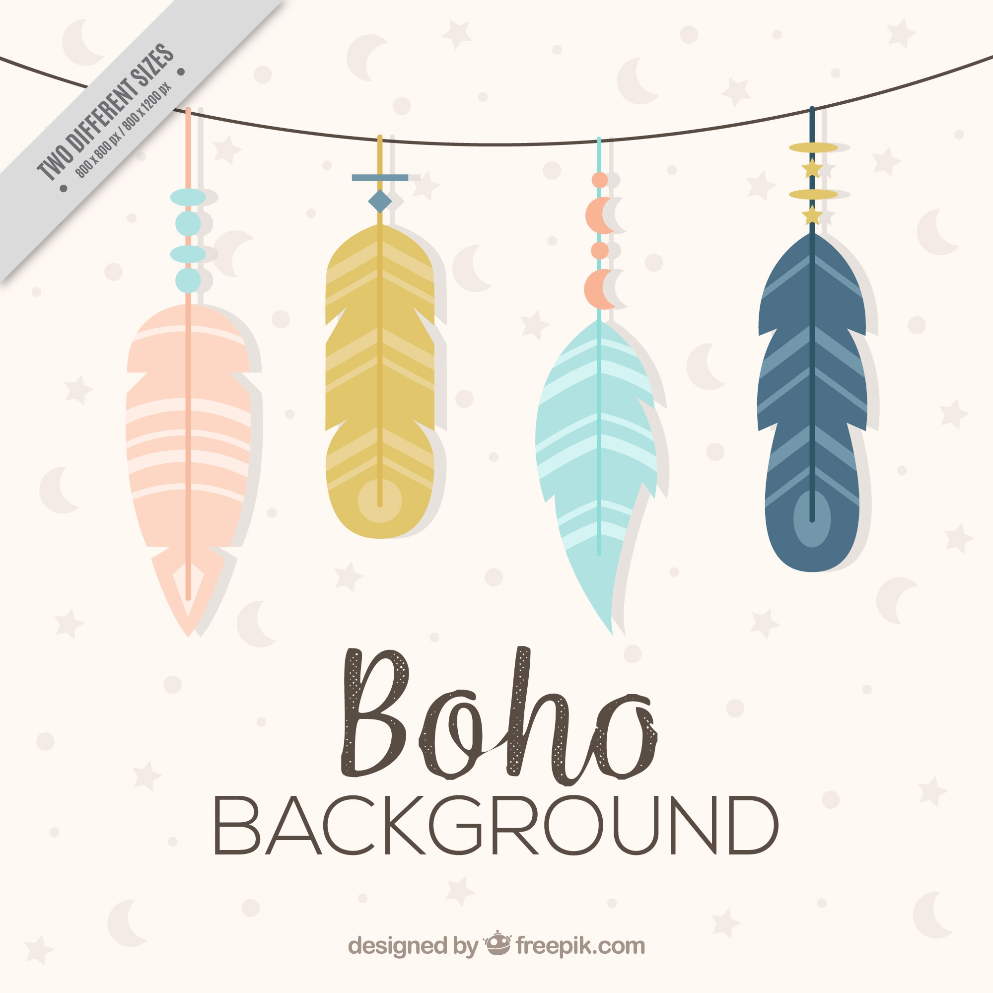 Background with feathers in flat design