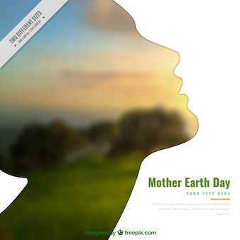 Background with female silhouette for mother earth day