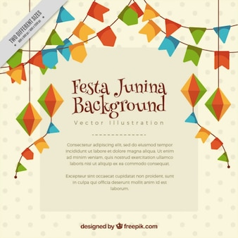 Background with festa junina garlands