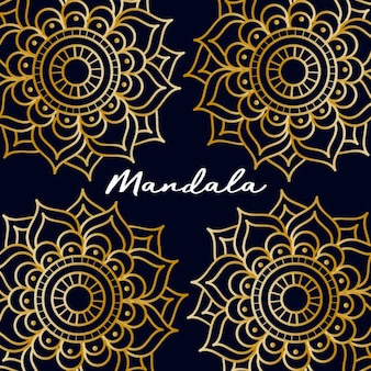 Background with four golden mandalas