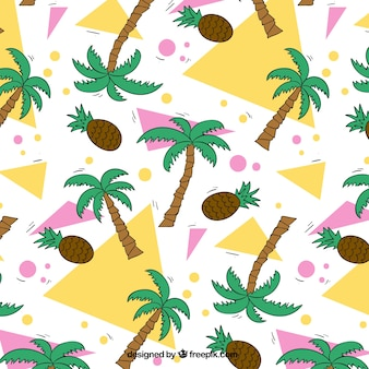 Background with geometric shapes, palm trees and pine cones