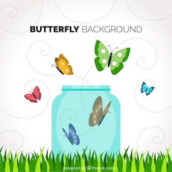 Background with glass jar and colored butterflies