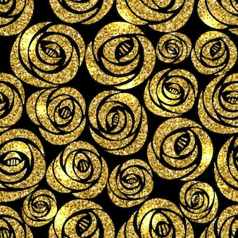 Background with gold flowers on a black background