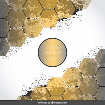 Background with golden hexagons and stains