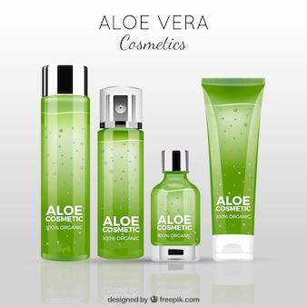 Background with green aloe vera products
