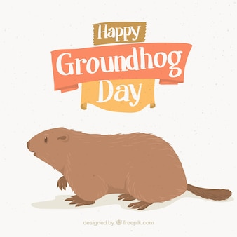 Background with groundhog day illustration