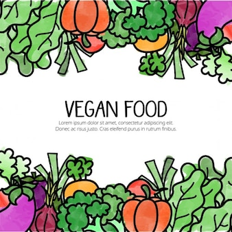 Background with hand drawn vegetarian food