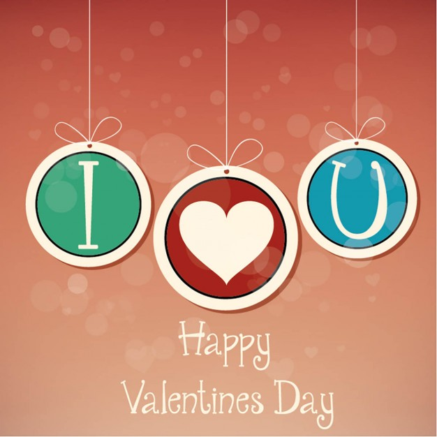 Background with hanging balls for valentine