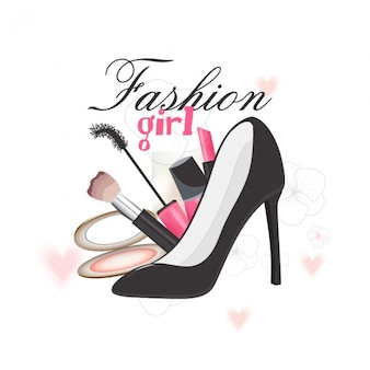 Background with heels and makeup