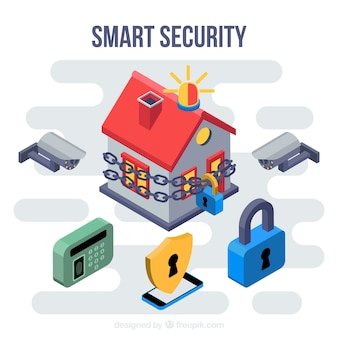 Background with home security elements