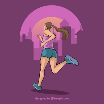 Background with illustration of girl running