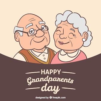幸せな祖父母のイラストと背景